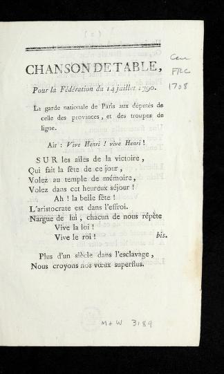 Cover of: Chanson de table, pour la fe de ration du 14 juillet 1790 by Catherine Cooper Hopley